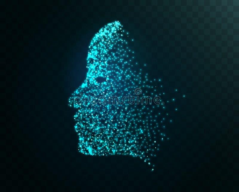 数字式面孔微粒技术概念背景 lerning人工智能的机器 面孔真正人 皇族释放例证