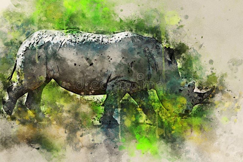 数字式飞溅白色犀牛水彩绘画  库存照片
