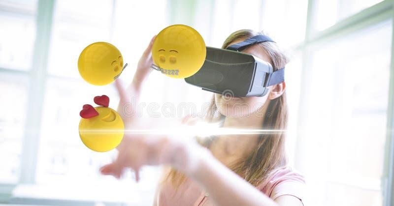 数字式飞过反对妇女的emojis的引起的图象在家使用VR玻璃 向量例证