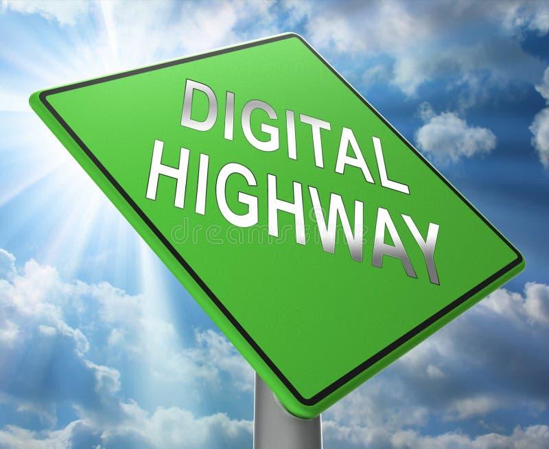 数字式高速公路标志真正车行道3d例证 库存例证