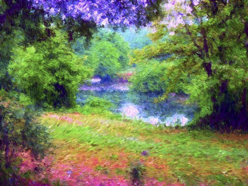 数字式绘画例证艺术 小湖在森林里 皇族释放例证