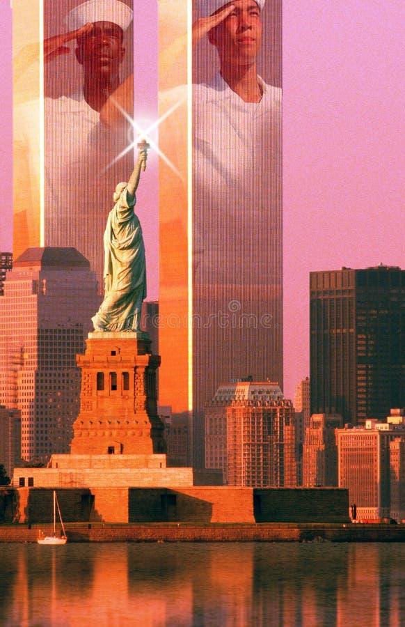 数字式综合:纽约地平线,美国水手,世界贸易中心,自由女神像 库存图片