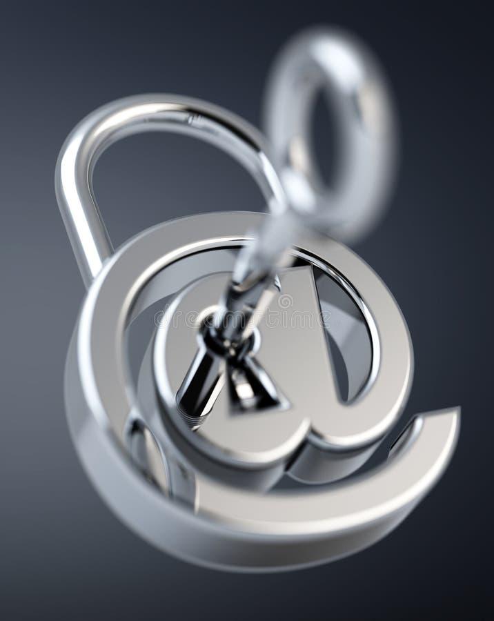 数字式arobase挂锁3D翻译 库存例证