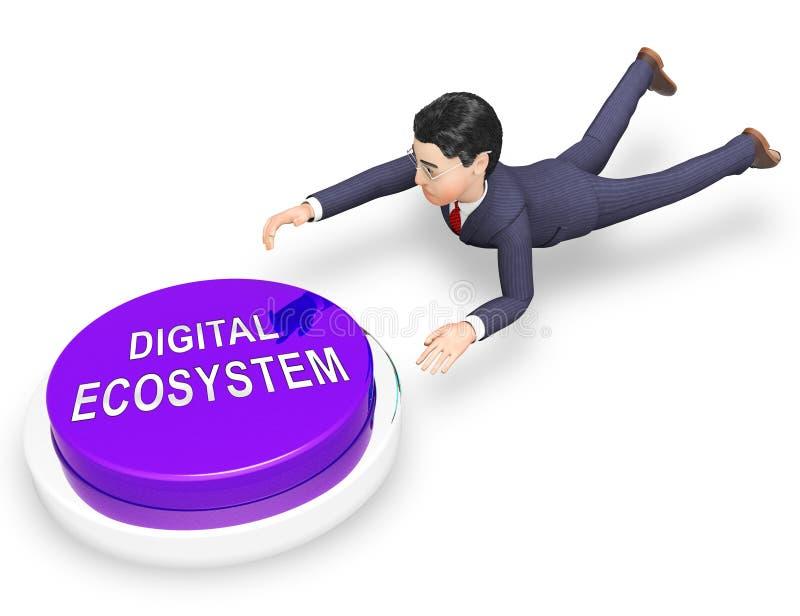数字式Eco系统数据互作用3d翻译 皇族释放例证