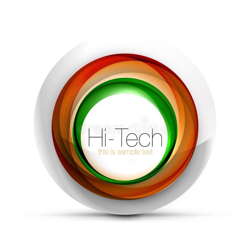 数字式techno球形网横幅、按钮或者象与文本 光滑的漩涡颜色摘要圈子设计,高科技 库存例证