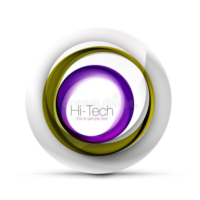 数字式techno球形网横幅、按钮或者象与文本 光滑的漩涡颜色摘要圈子设计,高科技 皇族释放例证