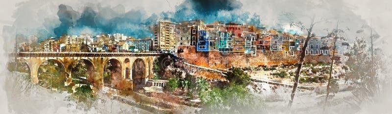 数字式Villajoyosa镇水彩绘画  西班牙 向量例证