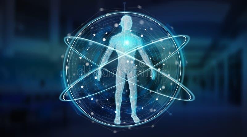 数字式X-射线人体扫描背景接口3D翻译 库存例证
