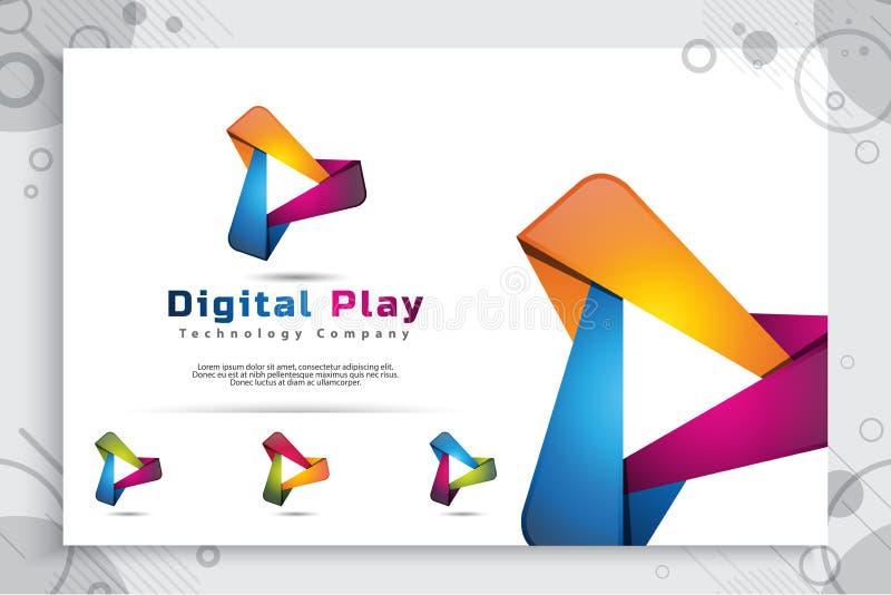数字戏剧与现代3d设计样式和现代颜色样式的传染媒介商标 戏剧象的数字创造性的例证为 库存例证