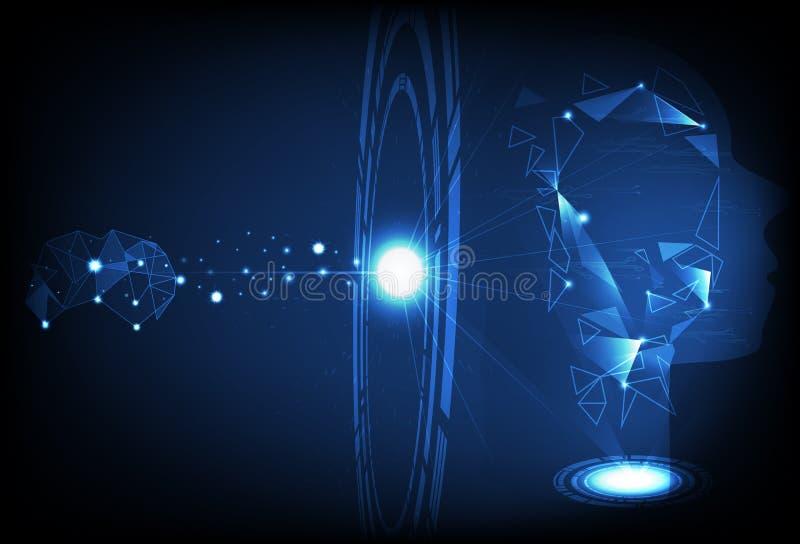 数字技术圆环辨认人和人为intelligen 皇族释放例证