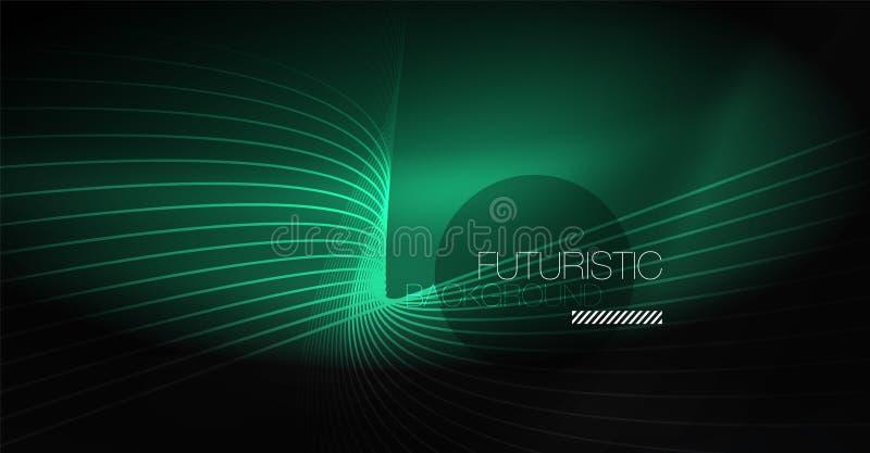 数字技术抽象背景-霓虹几何设计 抽象发光的线路 背景五颜六色的techno 向量例证