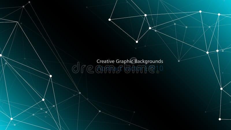 数字技术神经网络连接,与拷贝空间的多角形抽象背景 向量例证
