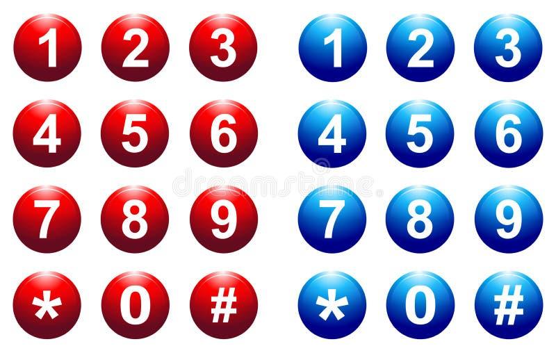 数字按钮 皇族释放例证