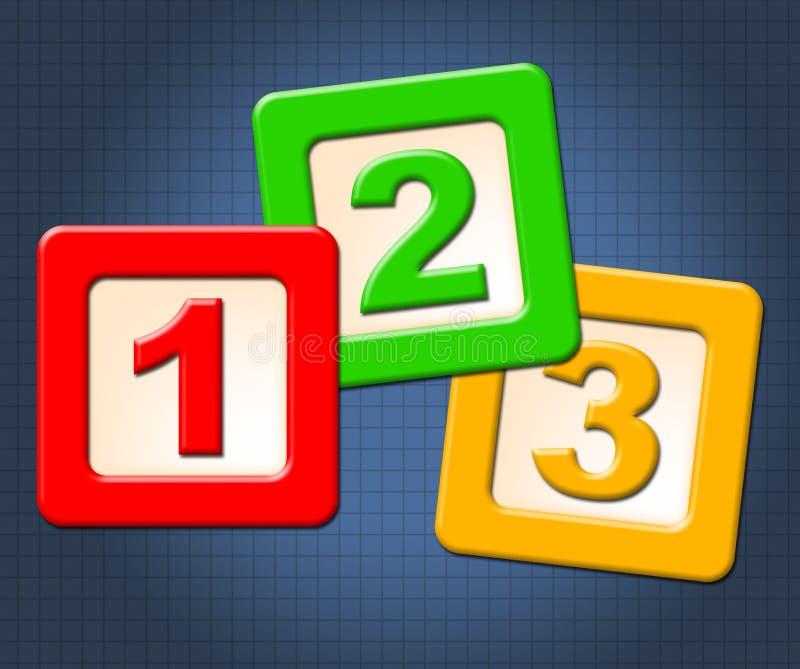 数字数理知识意味块孩子和数字 皇族释放例证