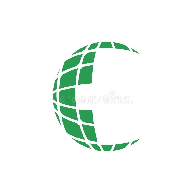 数字映象点地球商标在绿色的设计模板 向量例证