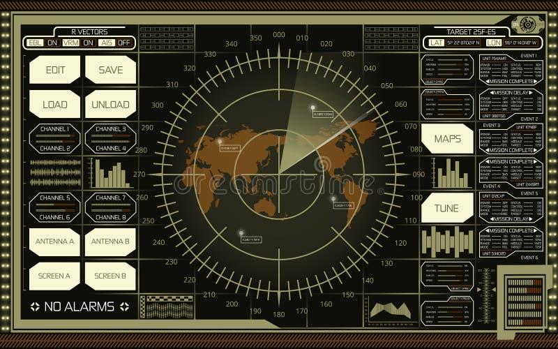 数字有世界地图、目标和绿色,白色和棕色树荫未来派用户界面的雷达显示器在黑暗的背景的 库存例证