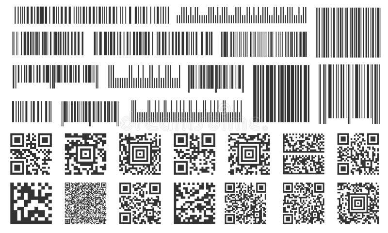 数字条形码 超级市场酒吧标签、商店存货代码和技术代码酒吧 条形码传染媒介集合 库存例证