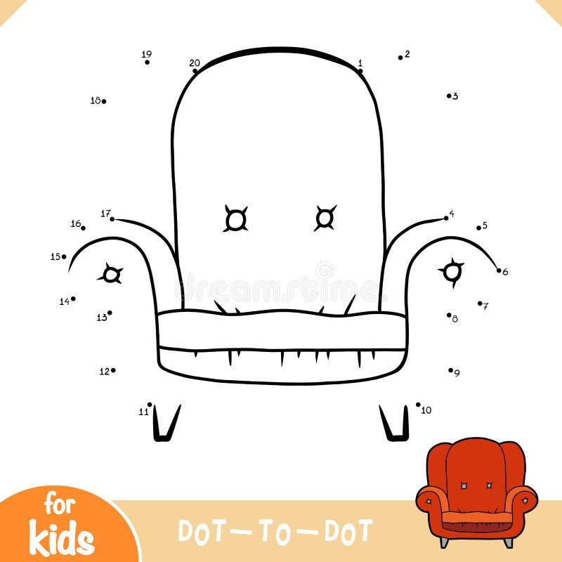 数字游戏、儿童教育游戏、带枕头的儿童床和玩具熊。数字游戏、儿童教育点到点游戏、带枕头的å 向量例证