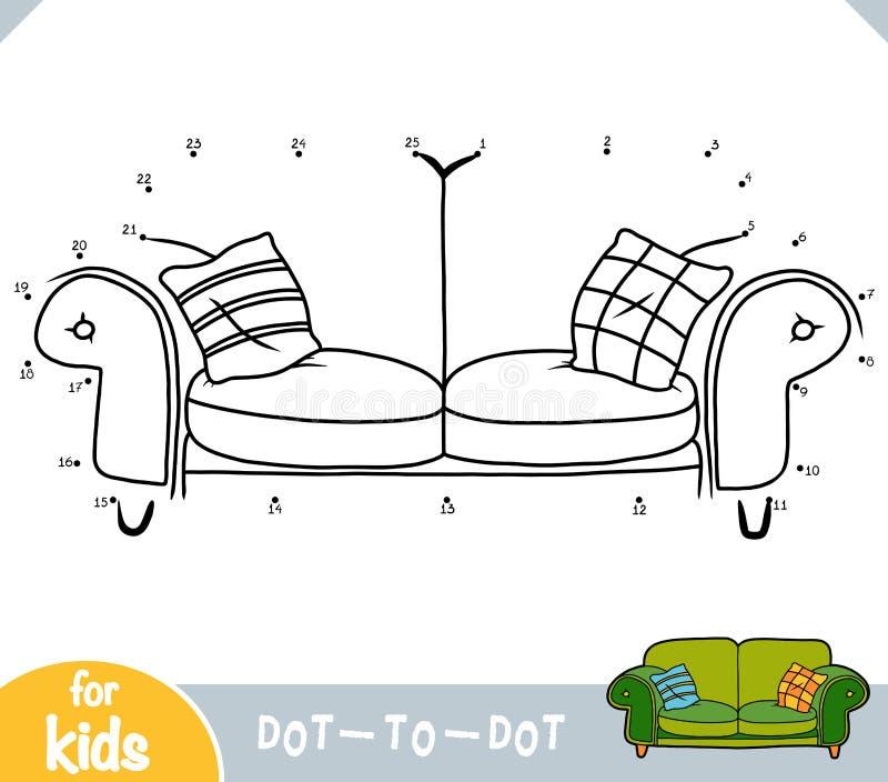 数字游戏、儿童教育游戏、带枕头的儿童床和玩具熊。数字游戏、儿童教育点到点游戏、带枕头的å 皇族释放例证