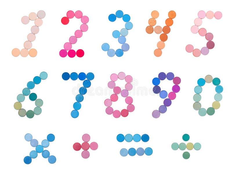 数字用眼影膏调色板做 库存例证