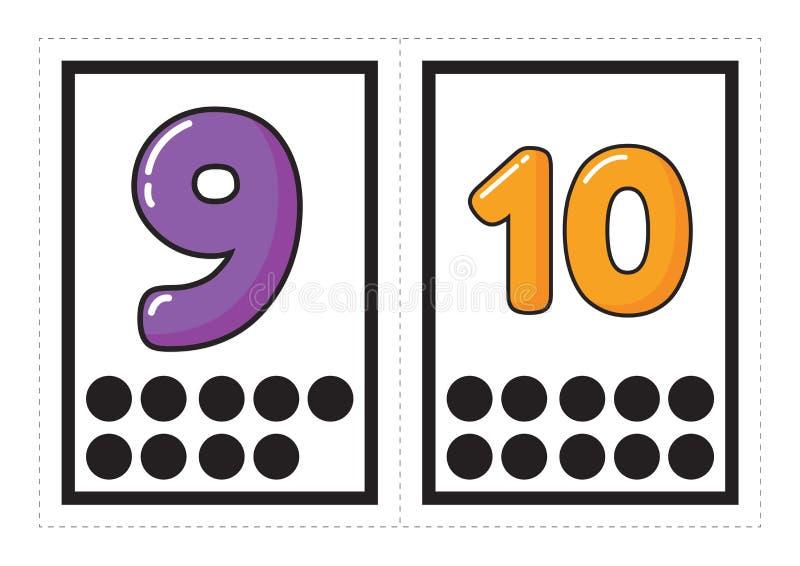 数字的可印的单词收藏与在学龄前/幼儿园的小组安排的小点的对应数 皇族释放例证