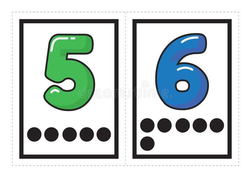 数字的可印的单词收藏与在学龄前/幼儿园的小组安排的小点的对应数 库存例证
