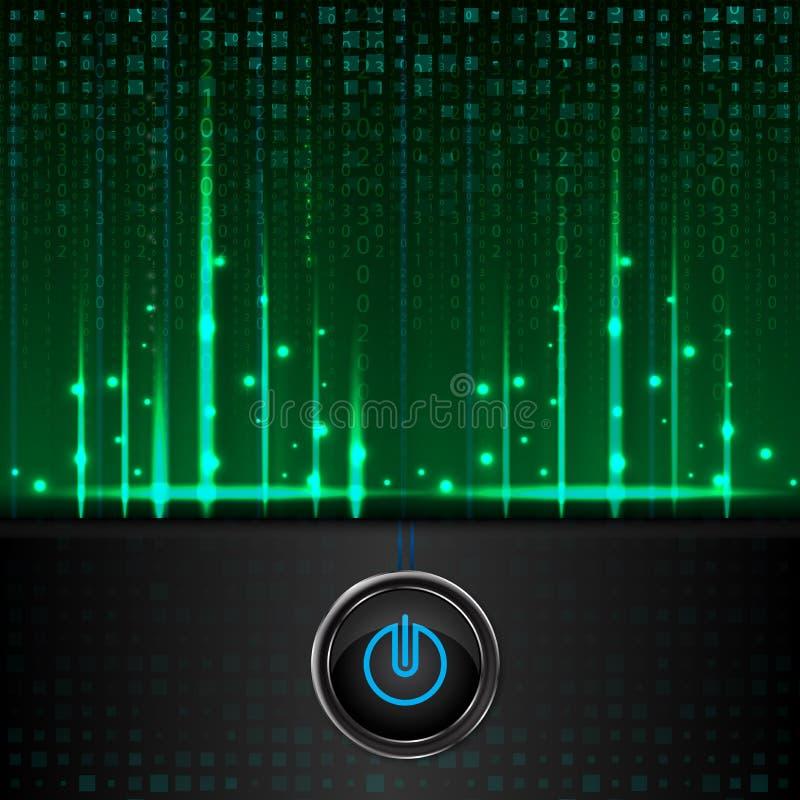 数字的构成作为现代技术绿色背景的 皇族释放例证