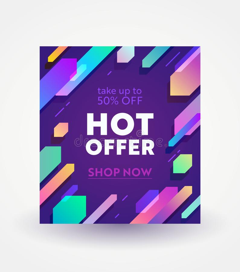 数字社会媒介销售的广告的横幅 热的提议、周末销售和购物折扣 五颜六色的几何梯度 库存例证