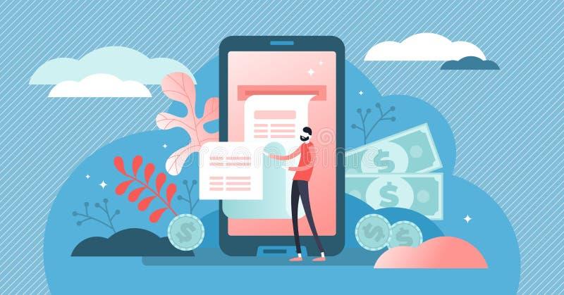 数字票据传染媒介例证 平的微小的电话钱包人概念 库存例证