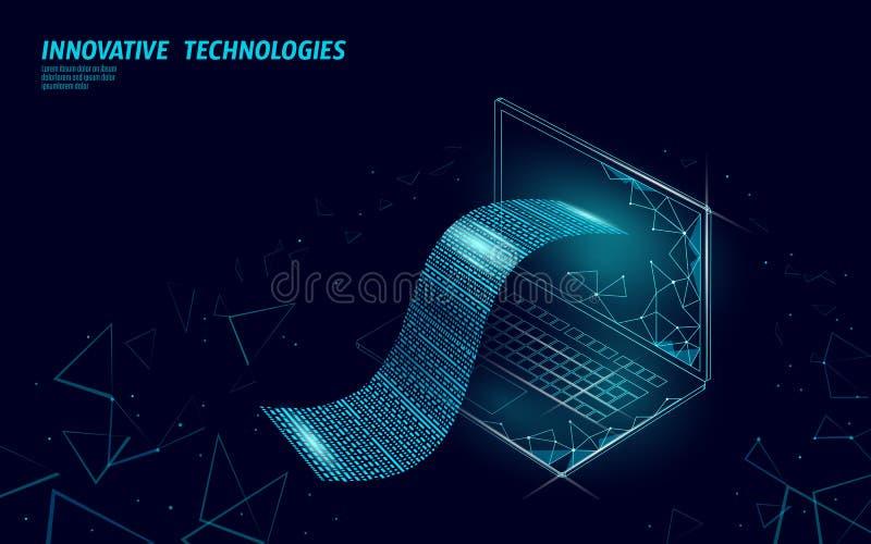 数字票据3D网银行业务概念 多角形点线网络购物票付款膝上型计算机 财政电子 向量例证
