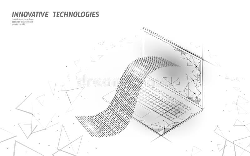 数字票据3D网银行业务概念 多角形点线网络购物票付款膝上型计算机 财政电子 库存例证
