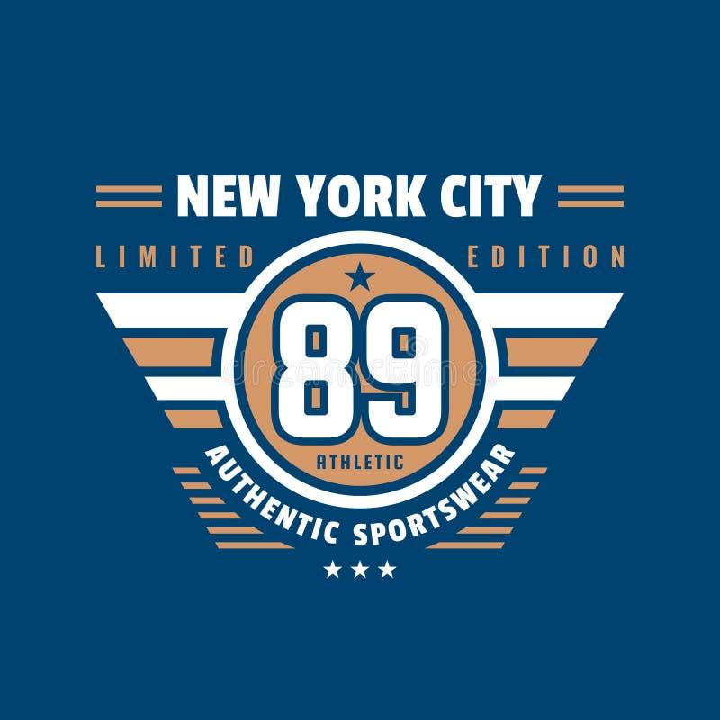 89数字纽约-印刷术T恤杉的葡萄酒商标 两个颜色成套装备印刷品的减速火箭的艺术品徽章  向量 库存例证