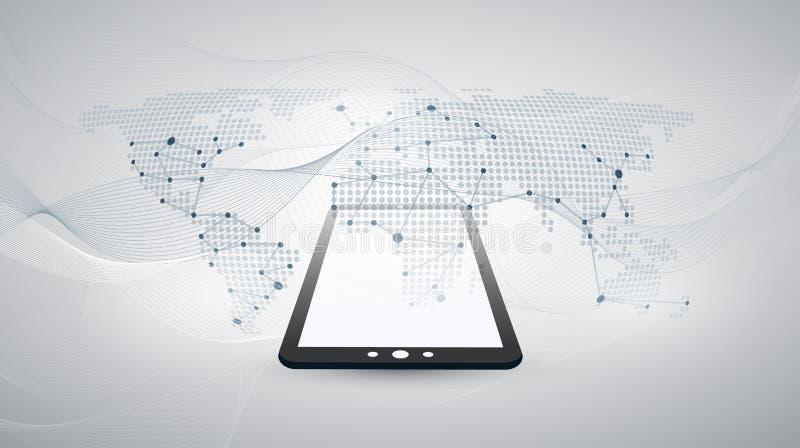 数字网连接,技术背景-与被加点的世界地图的云彩计算的设计观念 向量例证
