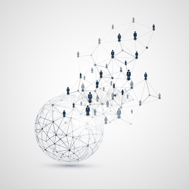 数字网,全球企业连接-与地球和网络滤网的社会媒介构思设计 库存例证