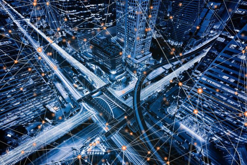 数字网Sathorn交叉点,曼谷街市,泰国连接线  财政区和商业中心 免版税库存图片