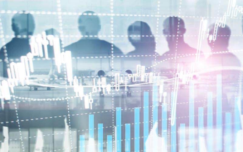 数字股票市场 财政企业股票市场图表图蜡烛棍子 外汇贸易 硬币和megapolis背景 库存图片