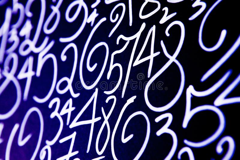 数字背景  从零到九 数字纹理 货币符号 命理学 数学等式和惯例 免版税库存图片