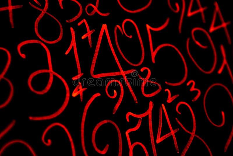 数字背景  从零到九 数字纹理 货币符号 命理学 数学等式和惯例 免版税库存照片