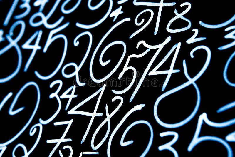 数字背景  从零到九 数字纹理 货币符号 命理学 数学等式和惯例 图库摄影
