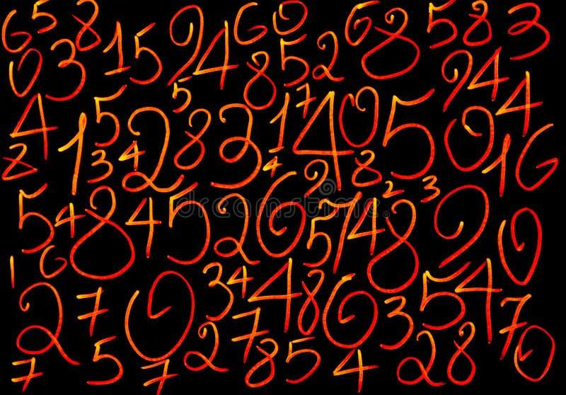 数字背景  从零到九 数字纹理 货币符号 命理学 数学等式和惯例 免版税图库摄影