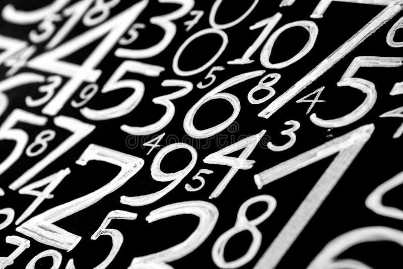数字背景 从零到九 数字纹理 3d上色了货币高例证图象多解决方法符号 命理学 数学等式和配方 免版税库存图片