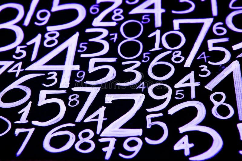 数字背景 从零到九 数字纹理 3d上色了货币高例证图象多解决方法符号 命理学 数学等式和配方 免版税库存照片