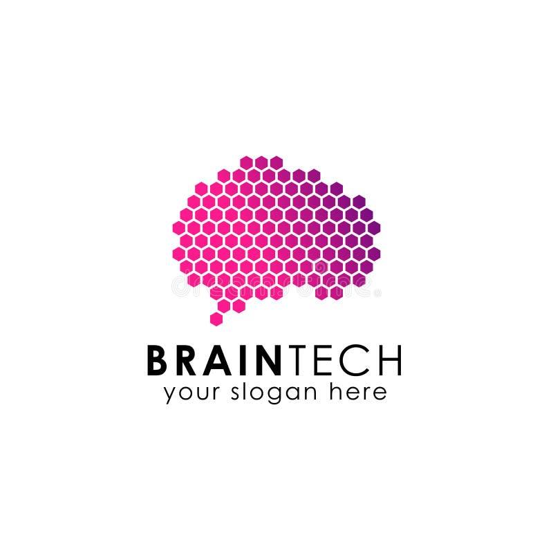 数字脑子与六角形样式的商标设计 向量例证