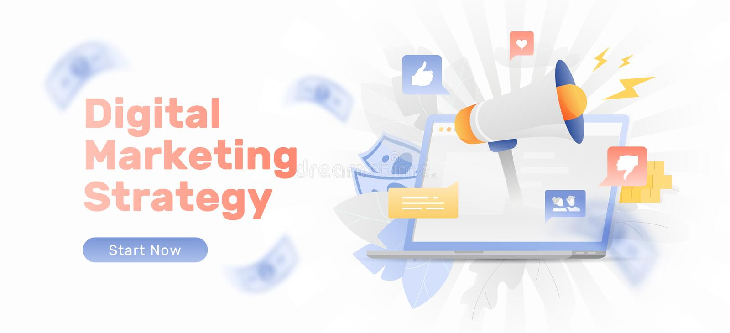 数字营销策略横幅 库存例证