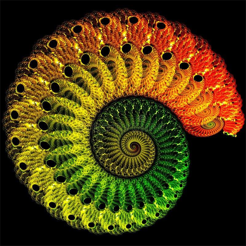数字计算机分数维艺术摘要分数维五颜六色的钩针编织的壳 向量例证