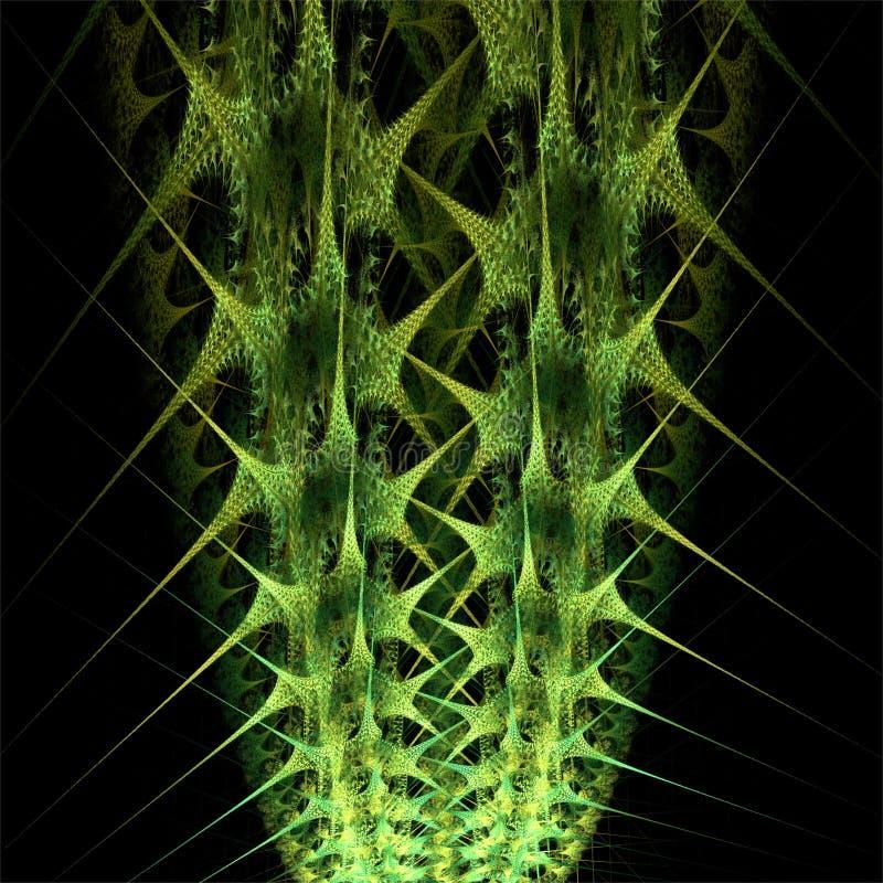 数字计算机分数维艺术摘要分数维绿色仙人掌 库存例证