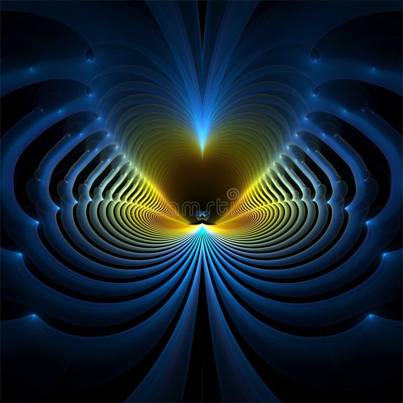 数字计算机分数维艺术摘要分数维蓝色波浪 皇族释放例证
