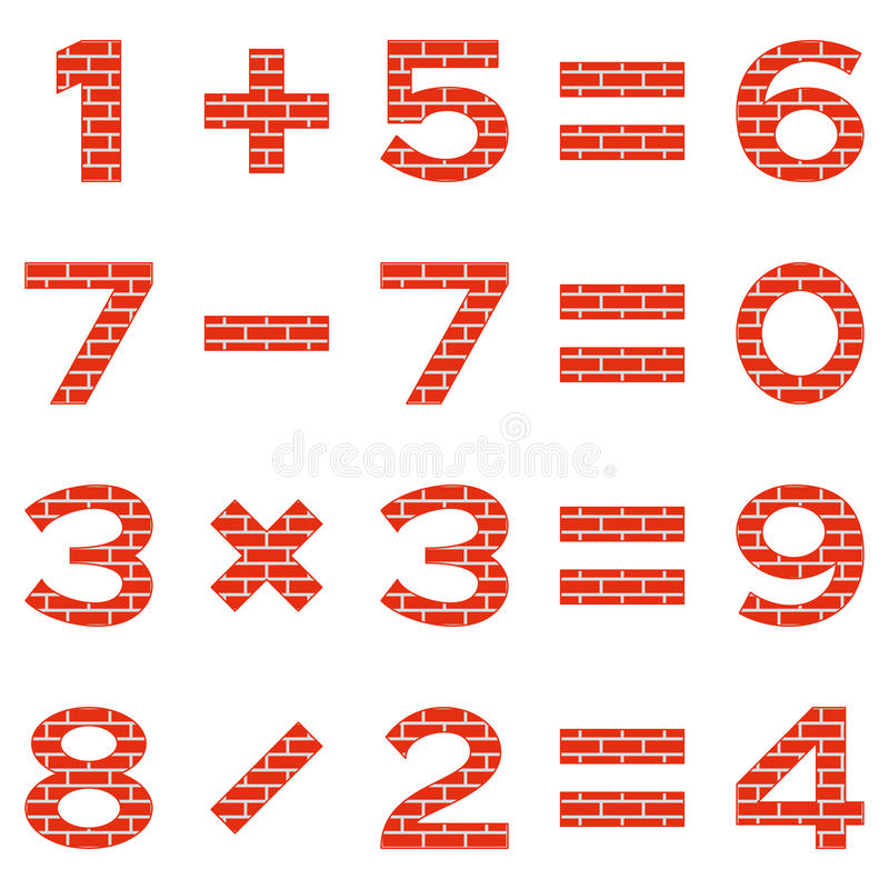 数字设置了砖 库存例证