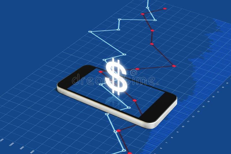 数字货币和电子网路银行 有货币符和上升图表的流动智能手机 向量例证