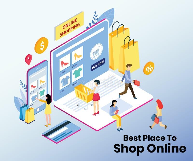 数字购物&智能手机付款系统等量设计 库存例证